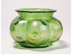Loetz Rusticana Green Dimpled Art Glass Vase