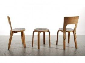 Group Of 1935 Alvar Aalto For Artek Chairs & Table