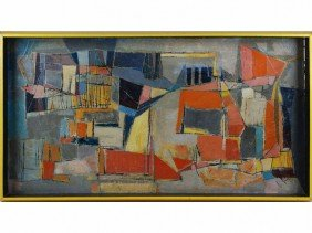 Mary Stewart 1949 Modern Abstract Oil /c Painting