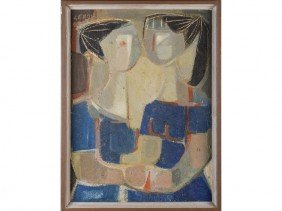E. Leroy Modern Abstract Oil Painting Two Woman