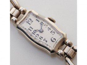 Art Deco 18K Gold & Diamond Concord Wristwatch