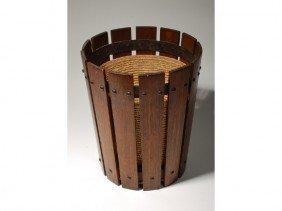 Gustav Stickley Arts & Crafts Oak Waste Basket