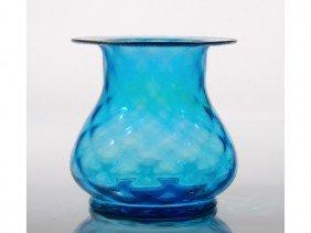 Steuben Celeste Art Glass Vase W Gilt Rim