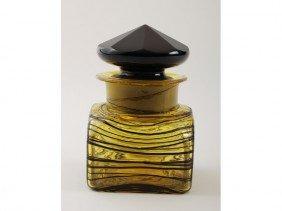 Steuben Art Deco Threaded Art Glass Dresser Jar