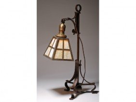 Arts & Crafts Iron Lamp With Slag Glass Shade