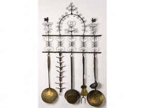 Wrought Iron 19th C. Folk Art  Wall Rack Utensils