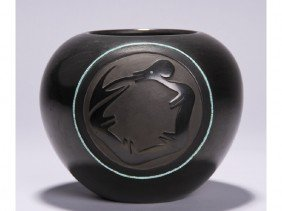 Dora Tse Pe - San Ildefonso Blackware Pottery Jar