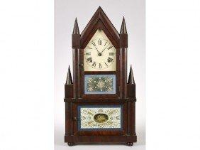 Mahogany 19C Double Steeple Clock Reverse Painted