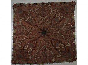 Antique 19C Handmade Kashmir Paisley Shawl Textile