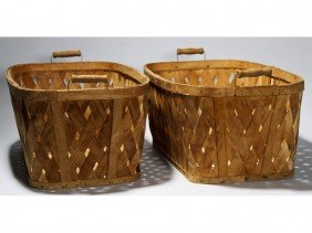 "Pair 1940's Bassinet - Hawkeye 30"" Laundry Baskets"