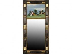 Sheraton 19C Reverse Painted Split Pilaster Mirror