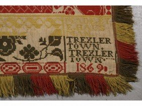 Dated 1869 Trexler Town. PA 19C Jacquard Coverlet