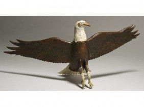 Naive Painted Mid 20C Bald Eagle Folk Art Carving