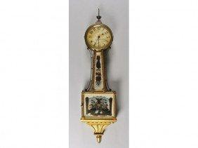 Gilt 19th C Banjo Clock Reverse Tablet Willard Type