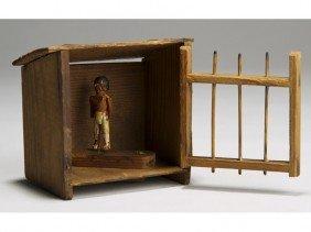 Folk Art Carved 19C Wood Native American In Jail
