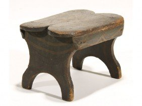 Painted 19th Century Bracket Foot Cricket Stool