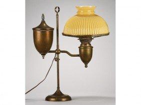 Brass Adjustable 19C Yellow Shade Student Lamp