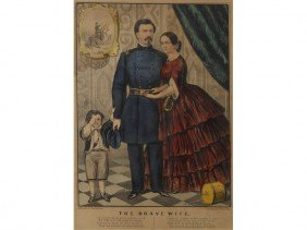 Currier & Ives -The Brave Wife - Tiger Maple Frame
