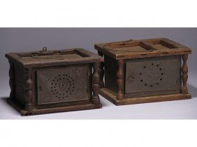 Two 19C Punched Tin Heart Foot  Warmers