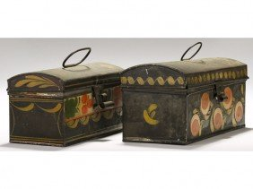 Two Old 19C Tole Paint Decorated Dome Top Boxes