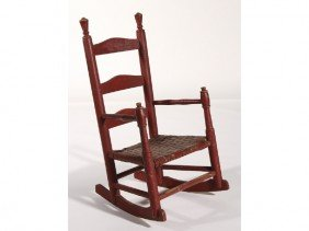 Red Ladder Back 1920 Childs Rocking Chair