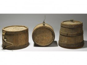 Early 19C Wooden Iron Strapped Canteens L.I., NY