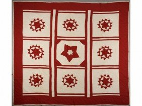 Antique Turkey Red & White 19th C. Compass Quilt