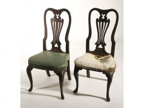 Pair Of 18C Queen Anne Carved  Walnut Side Chairs