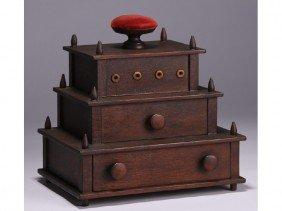 Shaker Walnut 19C 3-Tiered Drawered Sewing Box
