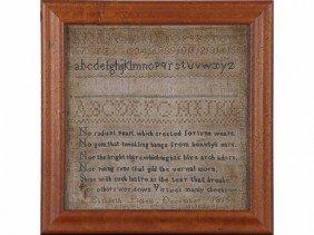 Elizabeth Pickels 1816 Alphabet Verse Sampler