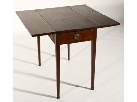 Hepplewhite 19C Cherry Inlaid Pembroke Table