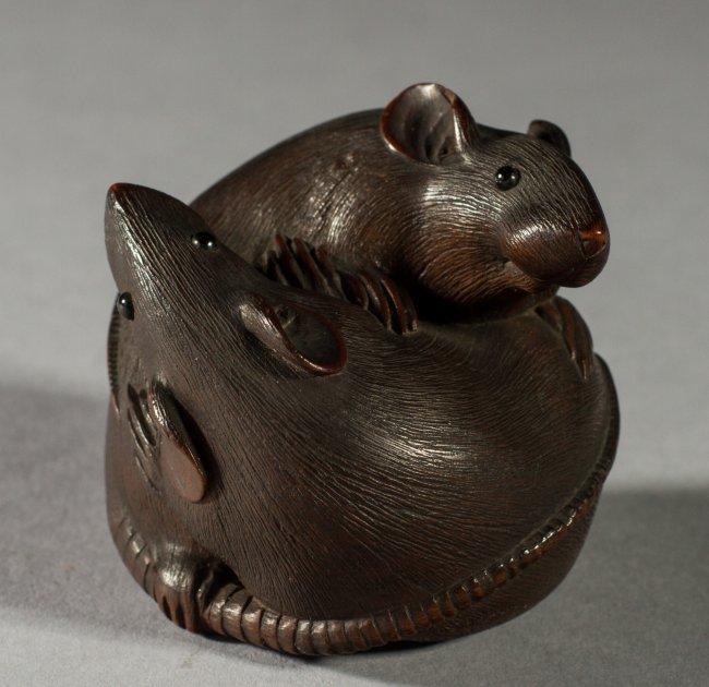 Antique signed japanese c carved boxwood rats netsuke