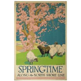 Original 1926 Chicago RR Travel  Poster Springtime