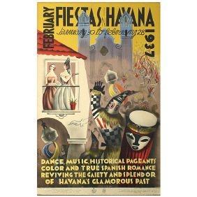 Original 1937 Havana Cuba Art Music Travel Poster