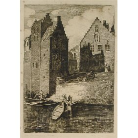 "Polly K. Hill ""Boat Landing, Bruges"" Etching Printi"