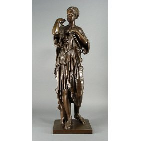 "French 19th C. Bronze 27"" Sculpture Woman In Gown"