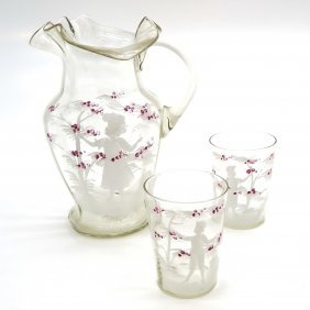 19th Century Mary Gregory Pitcher And Glasses