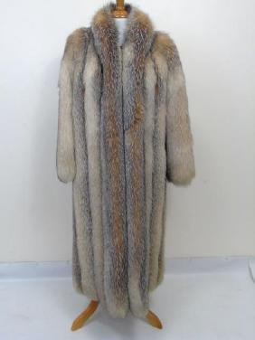 Custom Made Silver Fox Silk Lined Ladies Fur Coat