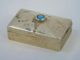 Mexican Sterling Silver Turquoise Pill / Snuff Box