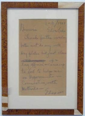 Antique Signed Note from Thomas A. Edison