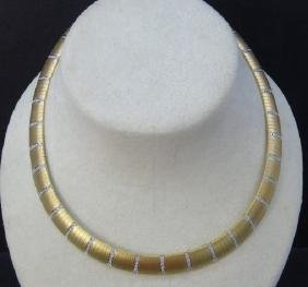 Estate 18kt Yellow Gold & 2 Carat Diamond Necklace