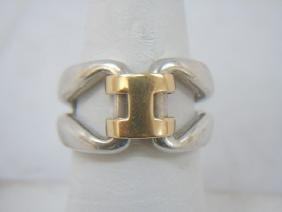 Estate Hermes 18kt Gold & Sterling H Design Ring
