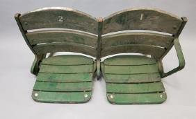 Wrigley Stadium Antique Wood & Iron Seats 1 & 2