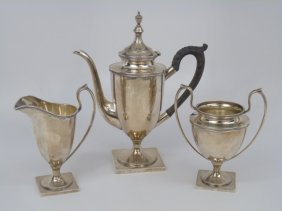 Three Piece Sterling Silver Neo Classical Tea Set