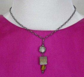 Handmade Artisan Sterling & Cats Eye Necklace