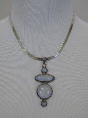 Sterling Silver Chain Necklace W/ Agate Pendant