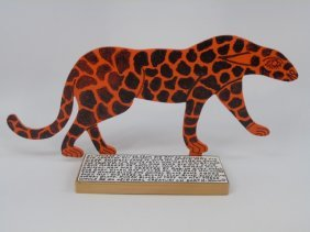 Howard Finster Cut-out Cheetah 1998 Signed Dated