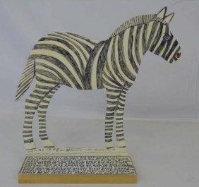 Howard Finster Cut-out Zebra Signed Dated Folk Art