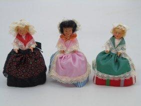 Lot Of 3 Vintage French Dolls Poupee Saveris