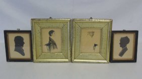 Two Pairs Of Framed Profiles / Silhouettes